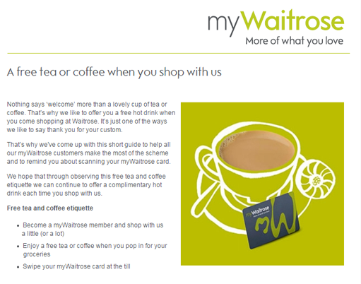 what can brands learn from waitrose 39 s 39 free hot drink. Black Bedroom Furniture Sets. Home Design Ideas